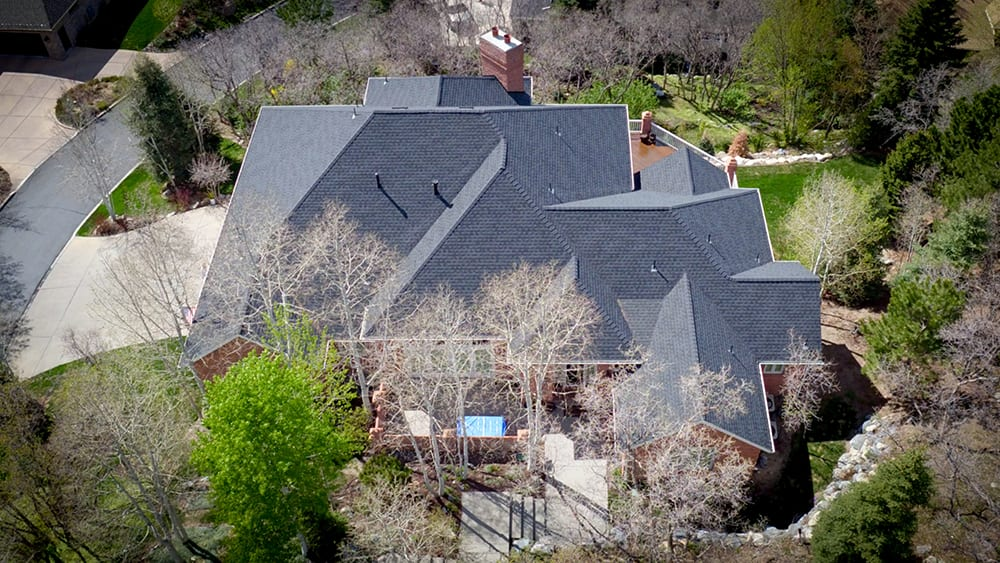 Reidential Large Home GAF architectural shingles with tear-off